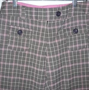 Juniors plaid(pink/brown) capri dress pants